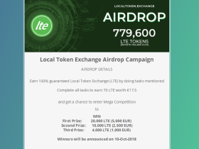 Local Token Exchange空投70个LTE,价值 17.5 欧